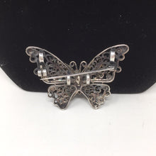 Load image into Gallery viewer, Sterling Marcasite & Garnet Butterfly Pin