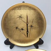 Load image into Gallery viewer, Six Vintage Gold Lacquerware Bamboo Motif Plates by Otagiri Mercantile Co.