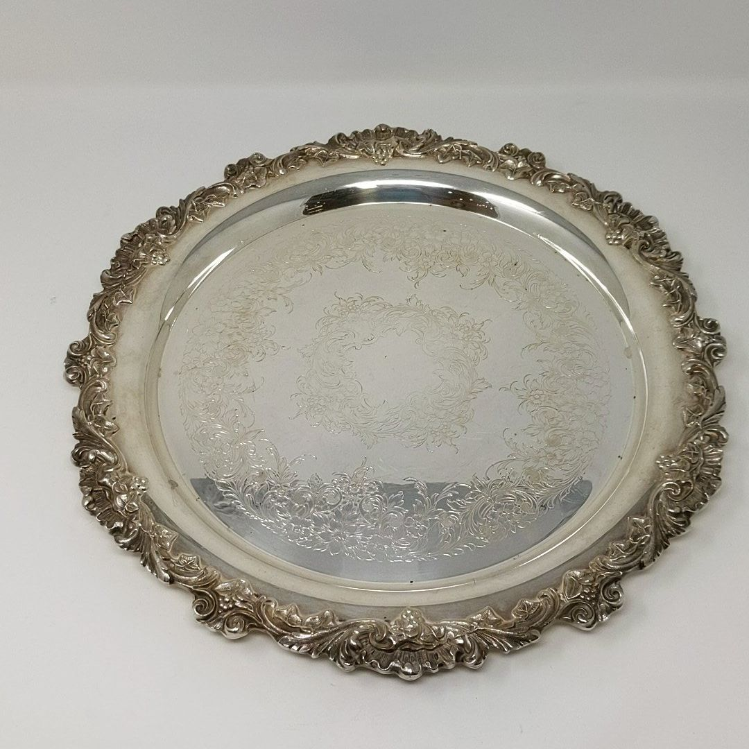 Round Floral Filigree Silver Plated Serving Tray