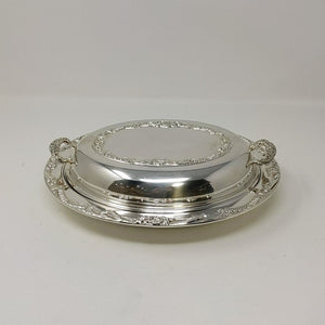 Oval Silver Plate Divided Glass Dish w/Handled Lid