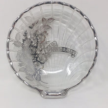 Load image into Gallery viewer, Vintage Silver Overlay 25th Anniversary Glass Dish