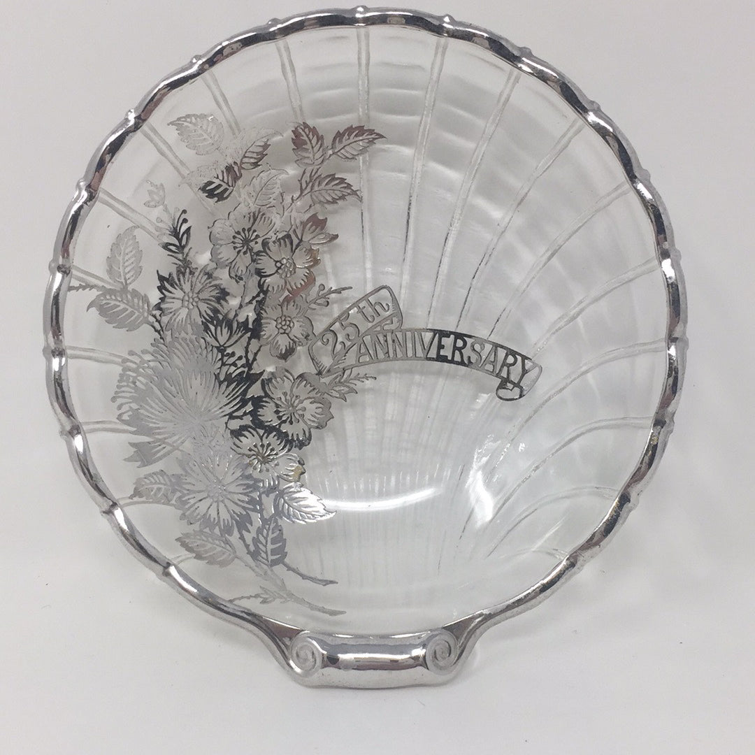 Vintage Silver Overlay 25th Anniversary Glass Dish