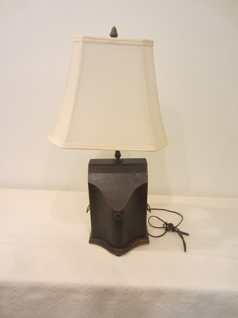 Serpentine Box Table Lamp with Brass Fittings, with Shade