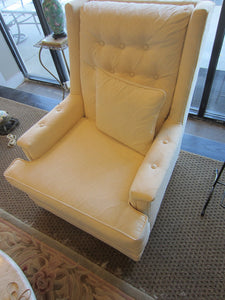 Diamond Tufted White Armchair