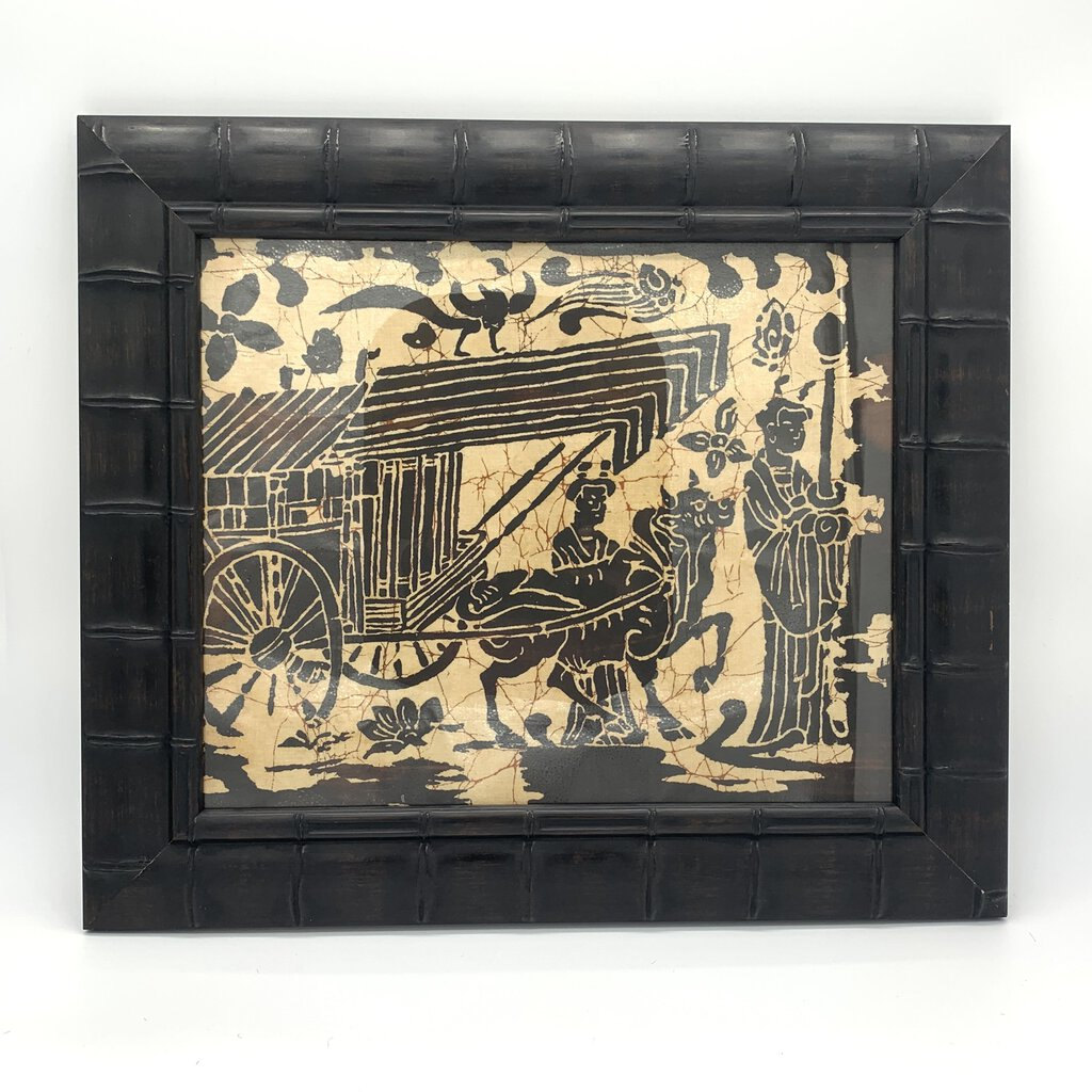 Asian Rice Paper Art in Dark Bamboo Frame