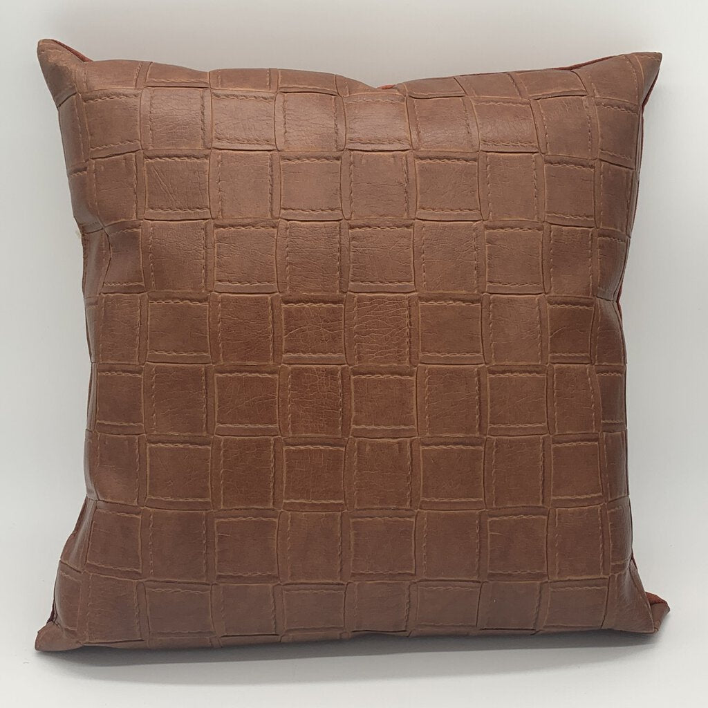 Leather Stitch Square Pattern Pillow