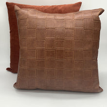 Load image into Gallery viewer, Leather Stitch Square Pattern Pillow