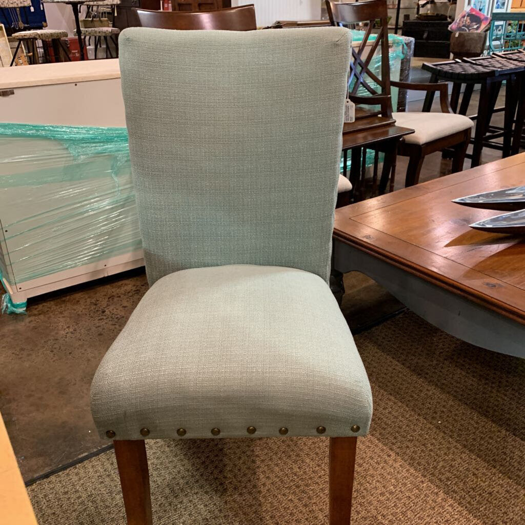 Nailhead Trim Teal Upholstered Accent Chair