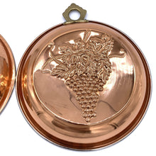 Load image into Gallery viewer, Copper Colored Mold Wall Hangings Hammered with Fruit- Pair