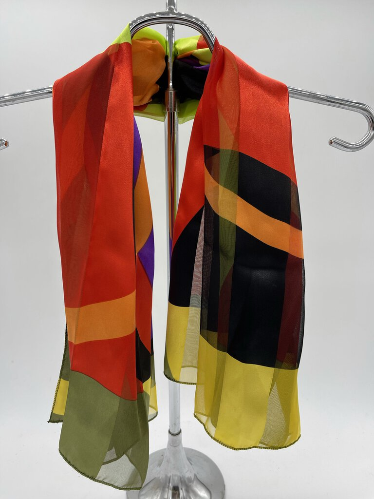 Bright Multicolor Circle Thick Stripe Scarf