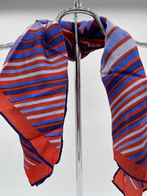 Load image into Gallery viewer, Shades of Blue and Red Stripe Handkerchief Scarf