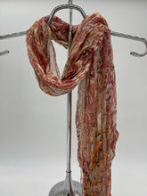 Load image into Gallery viewer, Pink Brown and Orange Crinkle Scarf