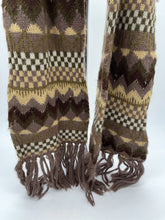 Load image into Gallery viewer, J P Allen Brown Thick Brown Patterned Fringe Scarf