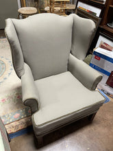 Load image into Gallery viewer, Grey Upholstered Gentleman's Chair
