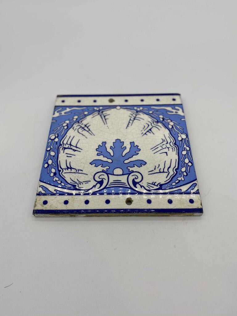 Minton's China Works Blue and White Tile with Shell