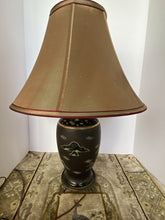 Load image into Gallery viewer, Satsuma Brown, Gold, Red and Green Vase Lamp - w Shade