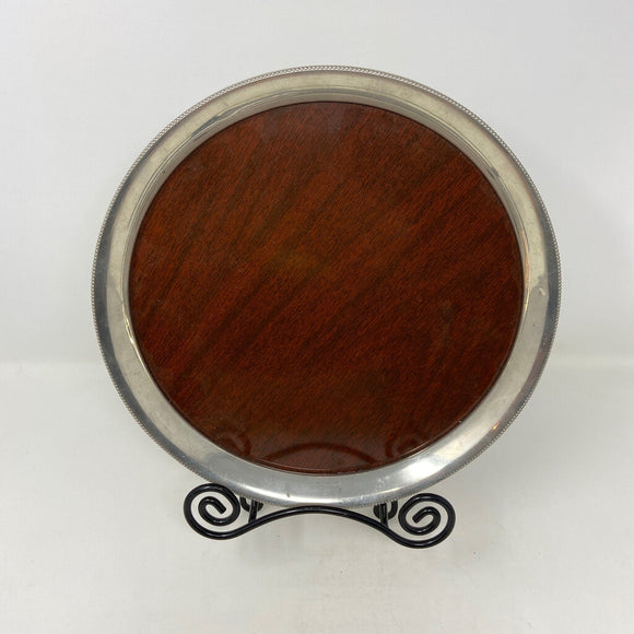 Round Silver/ Faux Wood Drink Tray