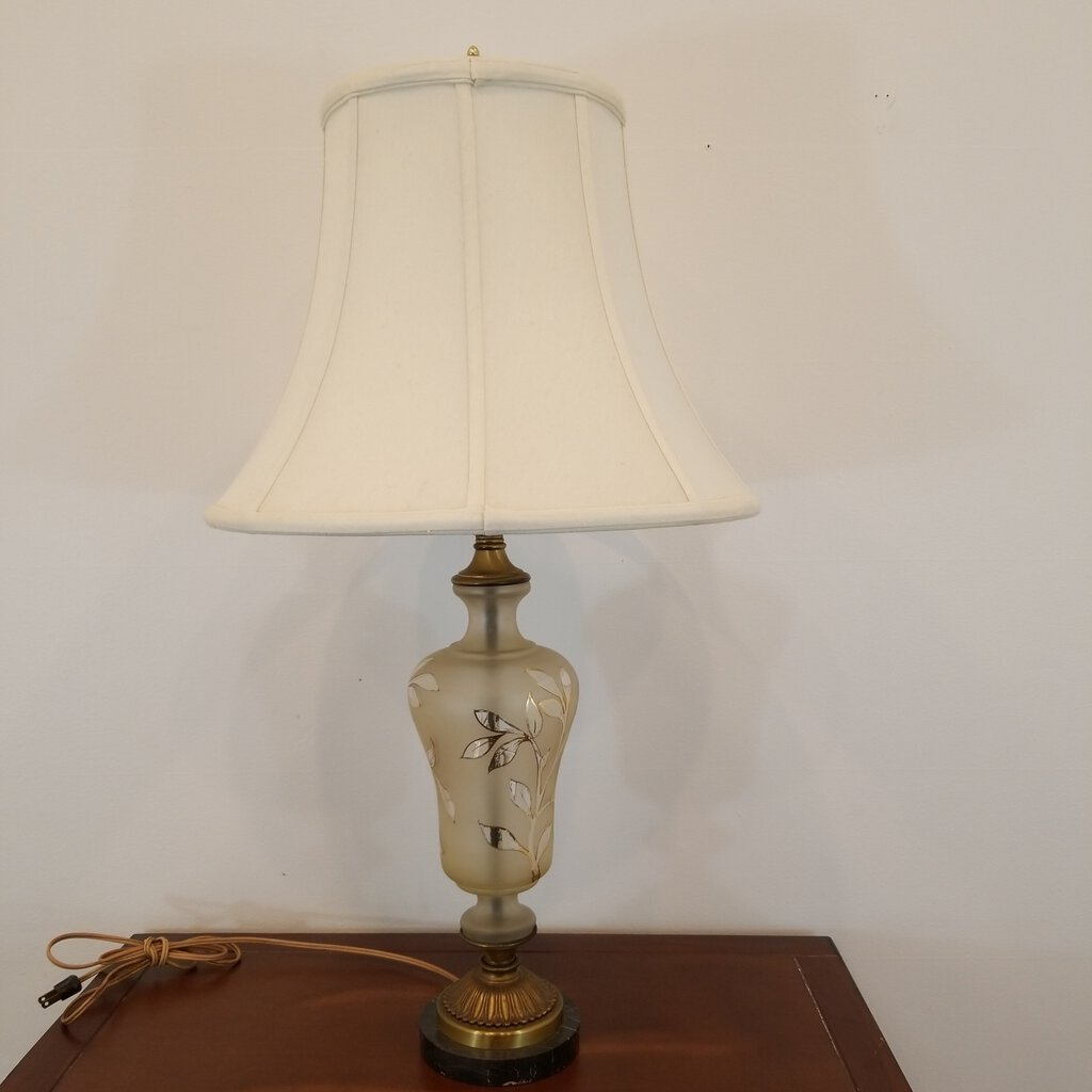 Vintage Satin Glass & Gold Trim Lamp with Marble Base w Shade