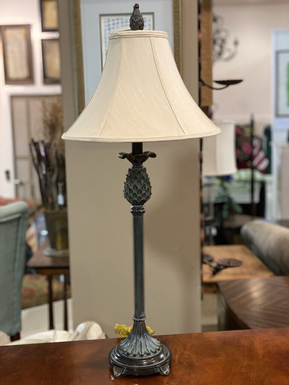 Bronze Tone Pineapple Column Lamp w Shade