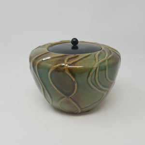 Green Pottery With Metal Lid