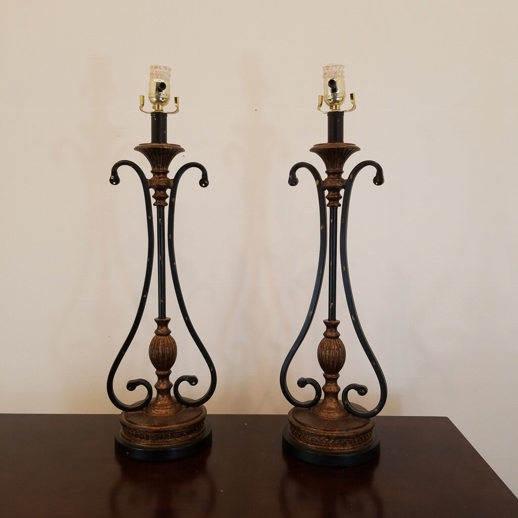 Pair Bronze Finish & Black Scroll Table Lamps