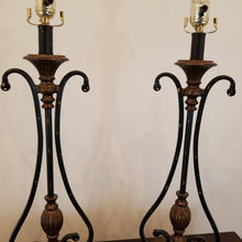 Load image into Gallery viewer, Pair Bronze Finish & Black Scroll Table Lamps