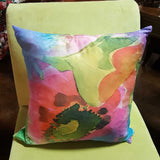 "Abstract Large Floral Pink & Orange 19"" Square Throw PIllow"