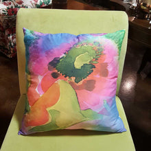 "Load image into Gallery viewer, Abstract Large Floral Pink & Orange 19"" Square Throw PIllow"