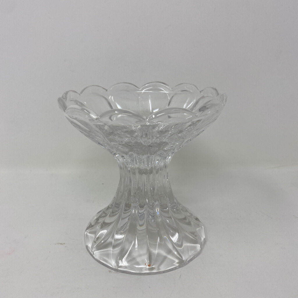 Clear Glass Scalloped Pedestal Candle Holder