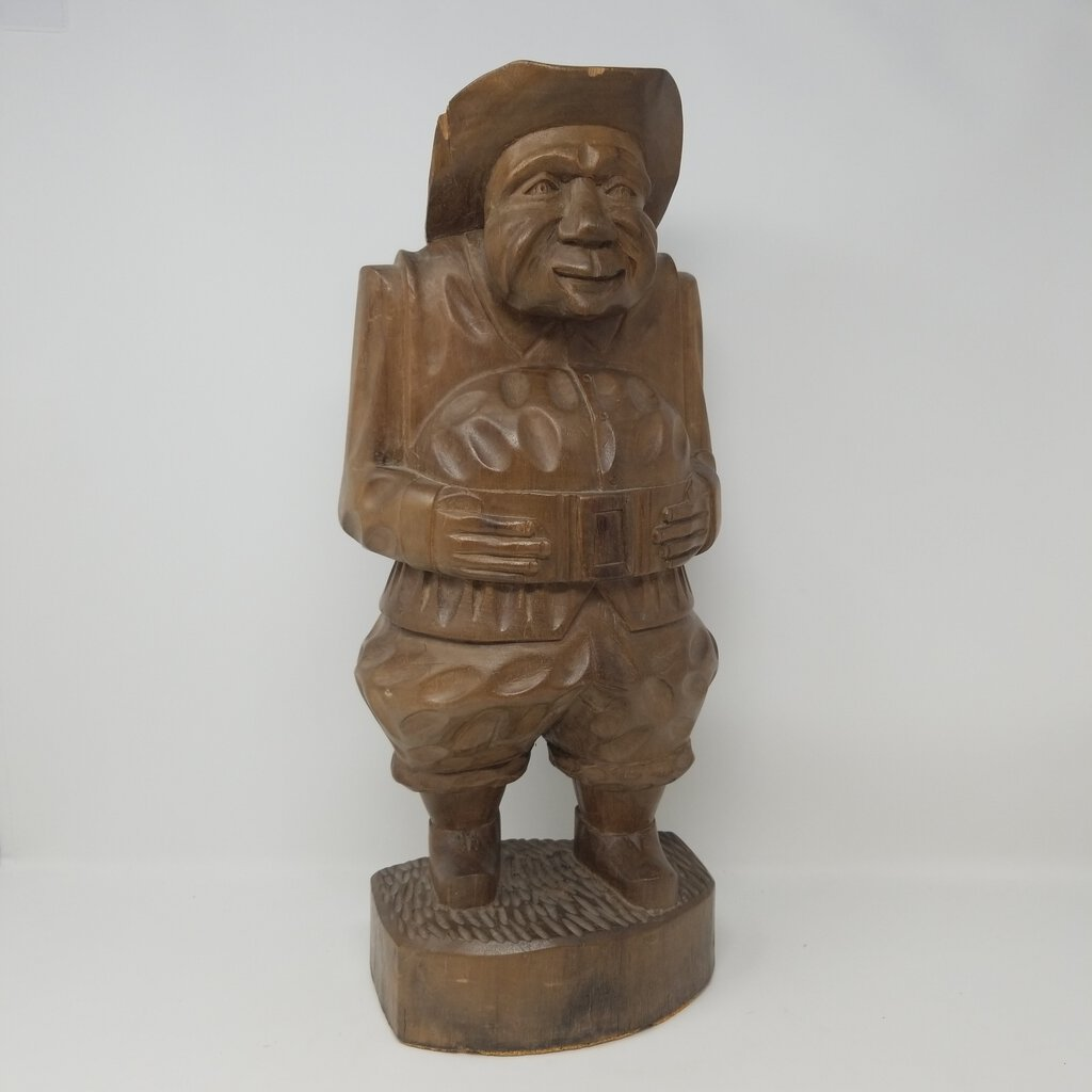 Carved Mid Century Folk Art Pilgrim Man
