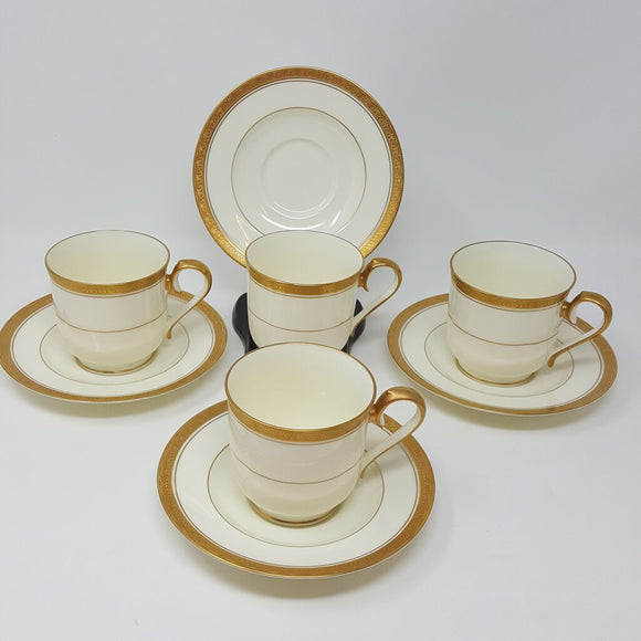 Noritake Canterbury Set of 4 Cup & Saucer Greek Gold Trim