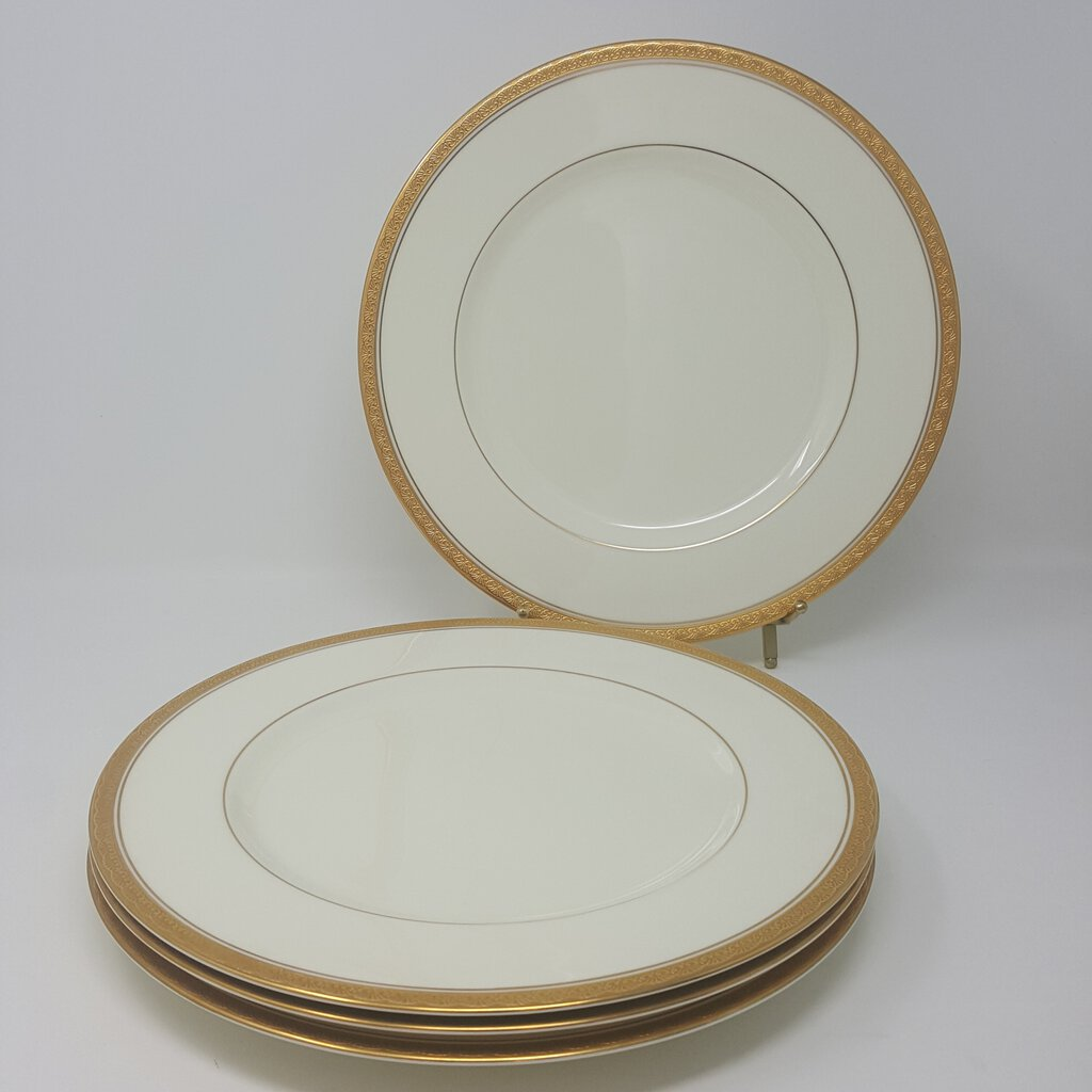 Noritake Canterbury Set of 4 Dinner Plates Greek Gold Trim