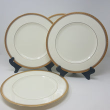 Load image into Gallery viewer, Noritake Canterbury Set of 4 Dinner Plates Greek Gold Trim