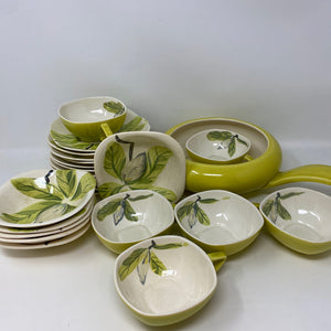 Vintage 1950's Set of Red Wing Chartreuse & Magnolia