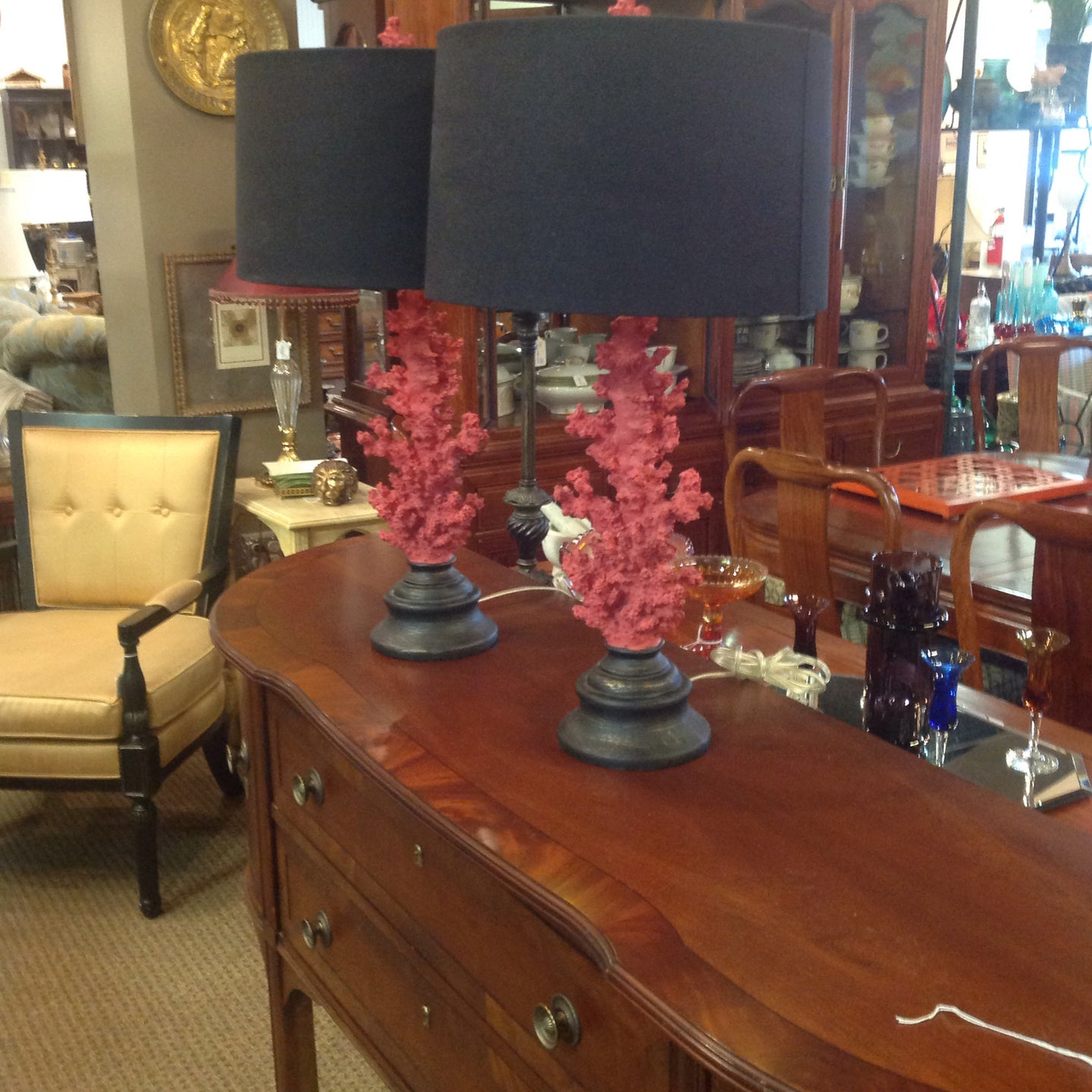 Coral Style Lamps w/Black Shades (Pr.)