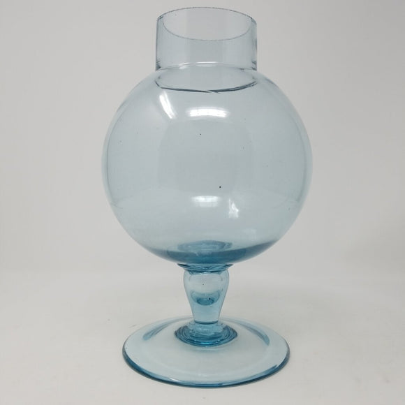 Mid Century Hand Blown Blue Orb Vase