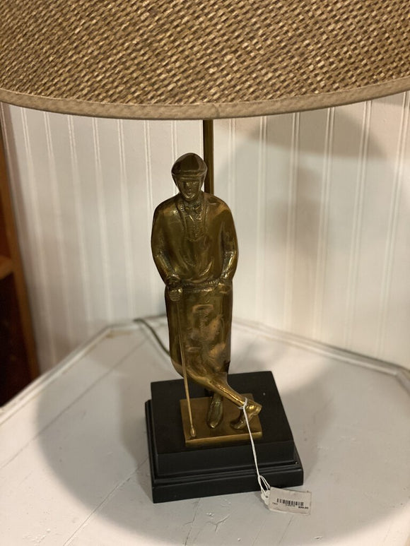 Vintage Brass Golfer Lamp with Shade