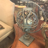Metal Filigree Globe Candle Holder on Stand