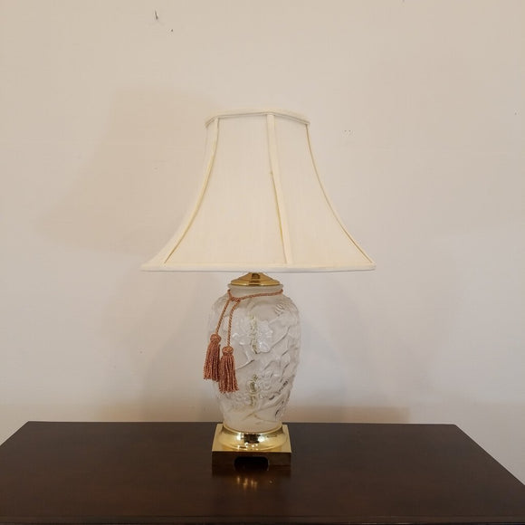 Vintage Frosted Goofus Glass Style Lamp with Brass Fittings