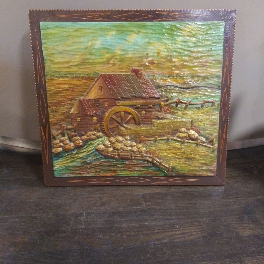 Black Forest Carved Painting of Watermill