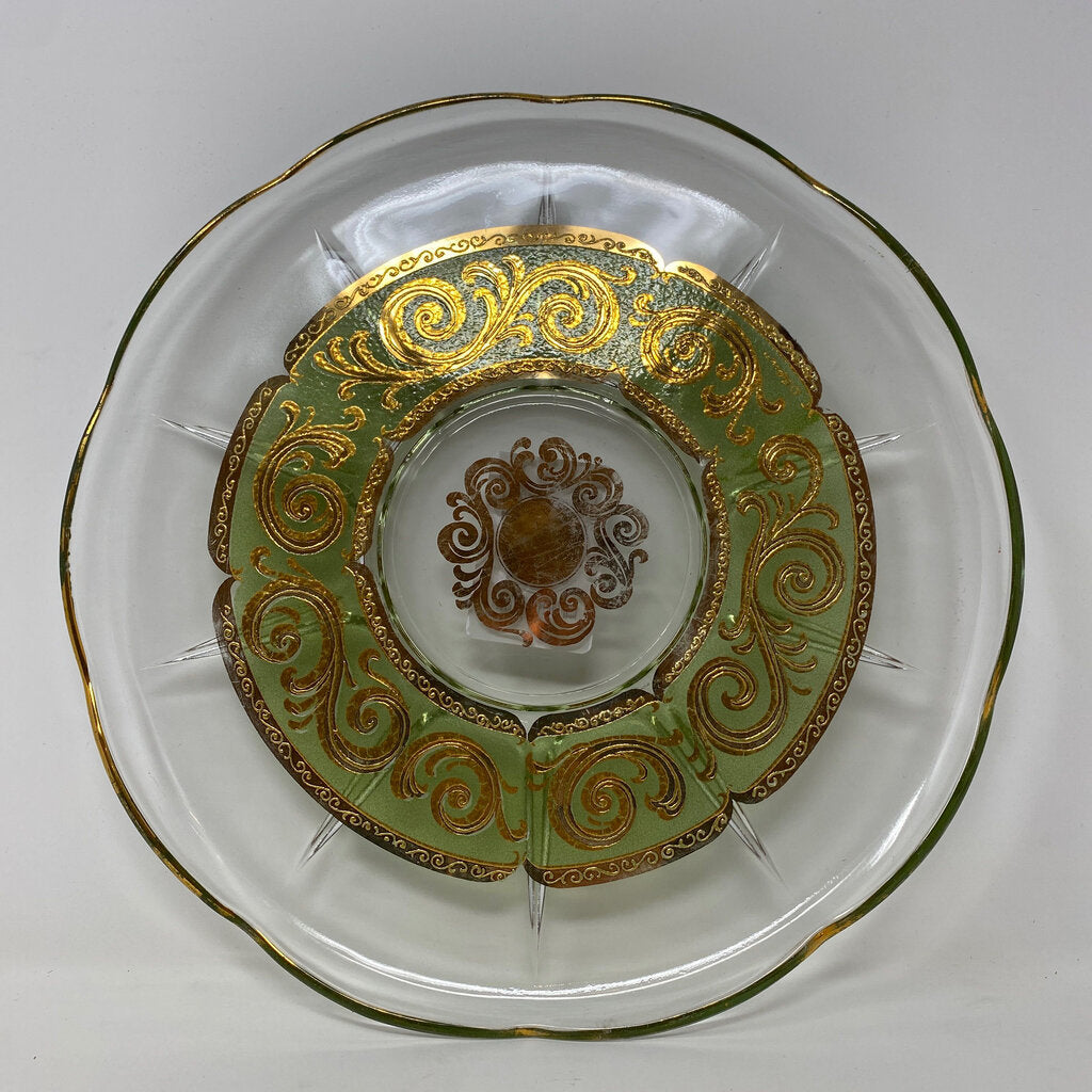 Culver Toledo Green & 22K Gold Swirl Scalloped 11-1/2