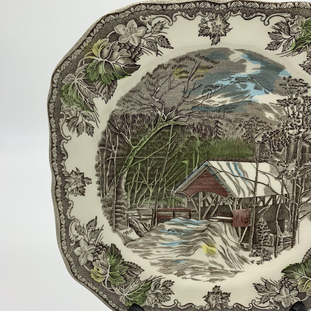 The Covered Bridge Square Salad Plates by Johnson Bros- Set of 4