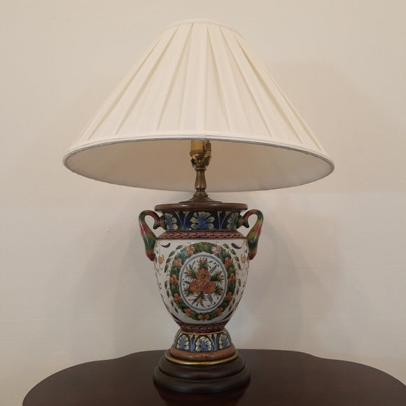 Hand Painted Italian Style Lamp with Pleated Shade