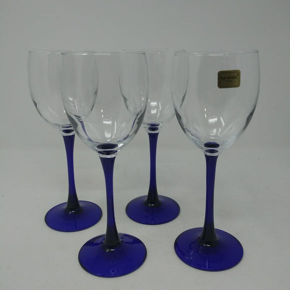 Set of 4 Luminarc Cobalt Stem Wine Glasses