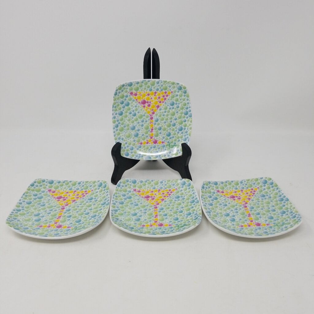 Thirstystone Set Of 4 Small Coasters Or Small Plates Martini Images 4.5