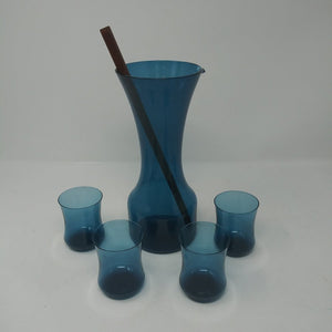Aseda Sweden Mid Century Blue Glass Cocktail Set