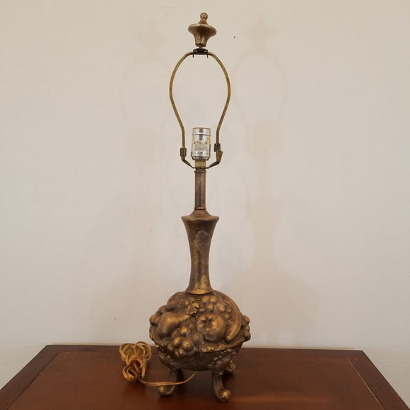 Gold Metal Footed Fruit Lamp (Shade Not Included)