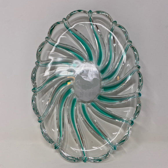 Green Swirl Scalloped Dish
