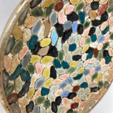 Vintage Mid Century Mosaic Tile Round Dish Multi Color Gold Plate