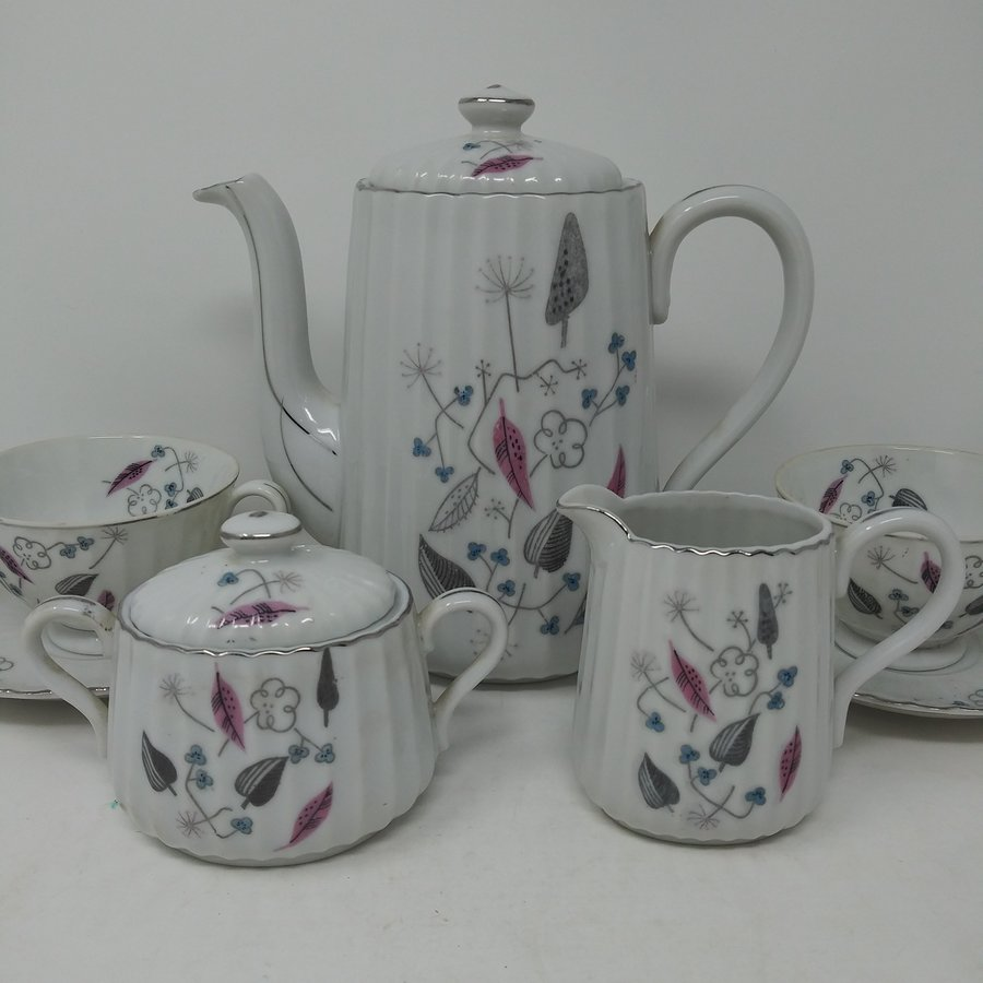 Royal Sealy Japan Coffee Pot, Sugar, Creamer & 6 Cups & Saucers